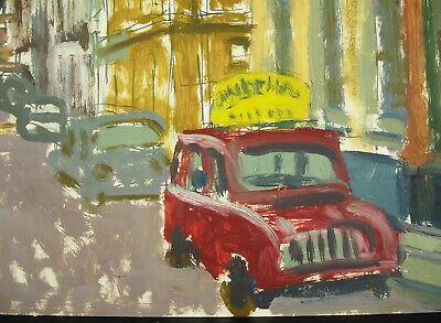 Lefler Dibujo Original Firmado c1970 Óleo sobre Papel Escena de Downtown & 2