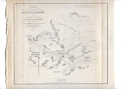 1851 Original Map Superintendent Of Us Coast Guard Survey Boston Harbor 10