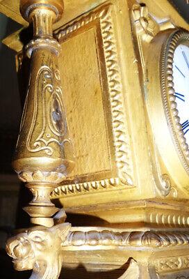Beautiful Fireplace Clock Pendule Brass Bronze Fire-Gilded Antique Baroque 6