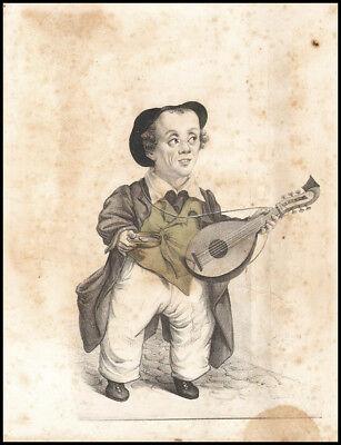 Nano musicista- Musica-Litografia Originale colorata a mano 2