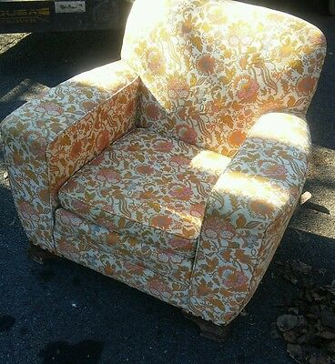 Enjoyable 008 Vintage Funky Floral Pattern Lounge Arm Chair Mid Squirreltailoven Fun Painted Chair Ideas Images Squirreltailovenorg