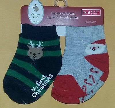 NEW CARTERS PRECIOUS Firsts Baby Boy 2-Pair Socks 0-6 Month~