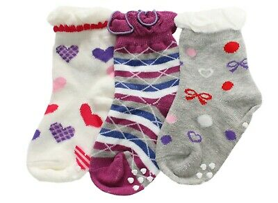 Girls 3p Stripes Polka Dots Pink Purple Socks Age 1 2 3 4 5 6 7 Normal/Anti-slip 5