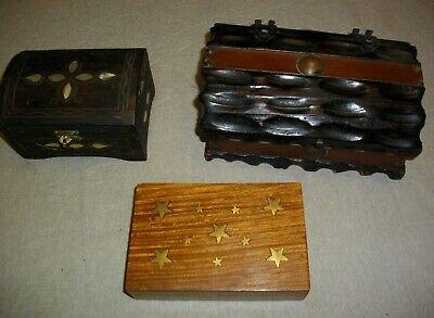 tres joyeros de madera y metal ( vintags) 21- 15 - y 14 ctms largo 4