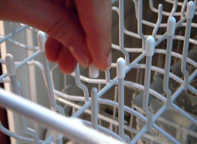 100 Universal White Dishwasher Rack Tip Tine Cover Caps   Just Push On to Repair 2