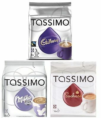 Tassimo Hot Chocolate Pack - Cadbury, Milka, Suchard 3 packs 32 T- Disc/ Drinks 3