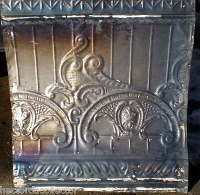SALE Antique Victorian Ceiling Tin Tile Nouveau Pie Cupboard Chic Torch Fleur De 2