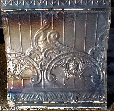 SALE Antique Victorian Ceiling Tin Tile Nouveau Pie Cupboard Chic Torch Fleur De 2