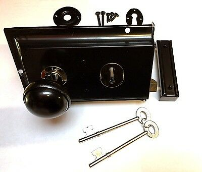 Satin BLACK Metal Rim Sashlock Lock & Knob Set Door Lever Knobs Spindle Shed 2