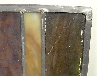GEOMETRIC RECTANGULAR LEADED-STAINED GLASS WINDOW~Art Deco 22x15~HEAVY OBSCURITY 12
