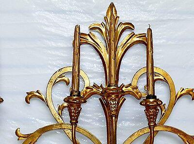 Antique Italian Tole Gold Gild Gilt Fleur de Lis 6 Wall Sconce Candelabra 43x29 5