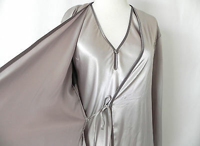 e9cea7980ead ... Halston Night Gown Robe Set Champagne Silver Maxi Satin Belted Pockets  XS S 4