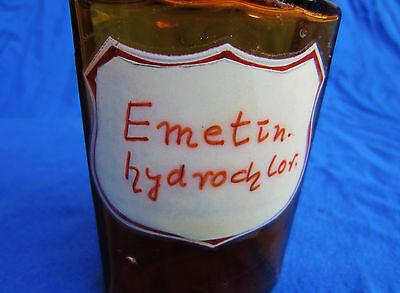 alte antike Gift Flasche, Apothekerflasche, Emetin-hydrochlor.  Braunglas