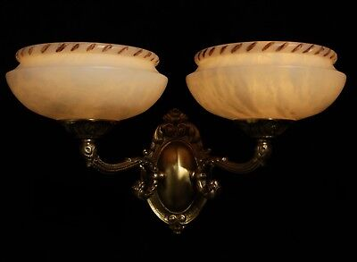 Carved alabaster shades wall lights sconces solid double arms bronze 7