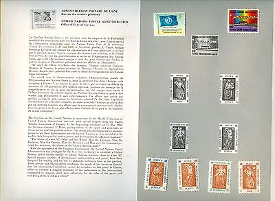 Stamps Canada # United Nation, lot of 1 folder and 6 MNH stamps. 2