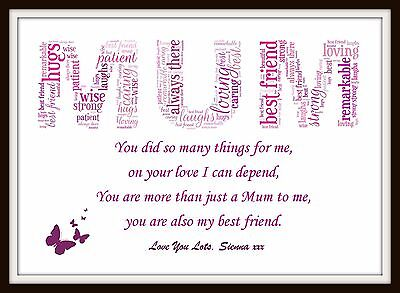 PERSONALISED SON DAUGHTER Mum Poem Mothers Day Birthday Christmas Gift Word  Art