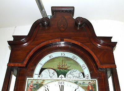 Antique Inlaid Mahogany Moon Phase Longcase Grandfather Clock FURNIVAL OLDHAM 4