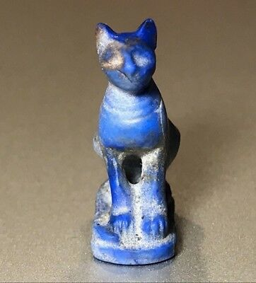 Ancient Egyptian Lapis Lazuli Pendant Of Goddess Bastet - Charming Piece!