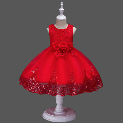 5 di 9 Vestito Bambina Abito Cerimonia Pailettes Girl Party Roses Princess  Dress CDR076 38375df996c