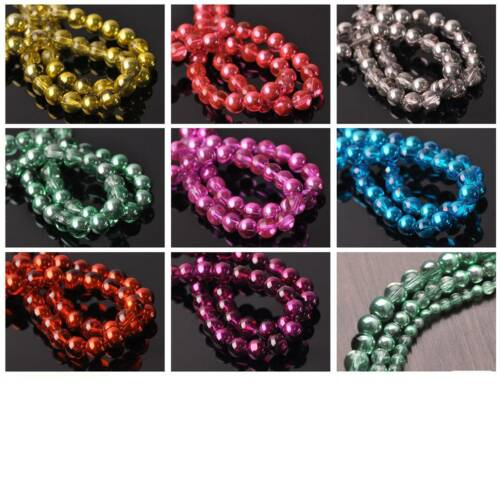 New Half Clear & Plated Colors Round Glass Loose Spacer Beads Lots 4mm 6mm 8mm 5