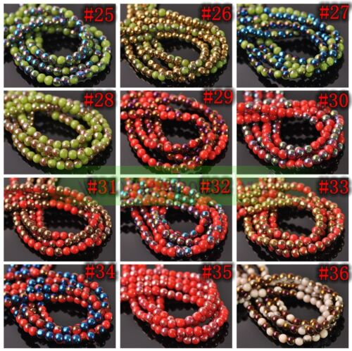 Wholesale 4mm 6mm 8mm Round Opaque Glass Loose Beads lot Jewelry Making Findings