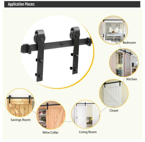 Sliding Barn Door Hardware Kit 6.6FT Modern Closet Hang Style Track Rail Black 8