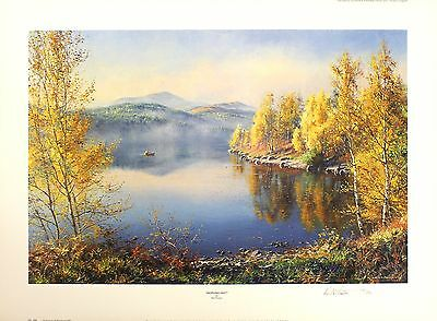 "REX PRESTON ""Morning Mist"" lake fishing SGD LIMITED ED! SIZE:51cm x 70cm NEW 2"