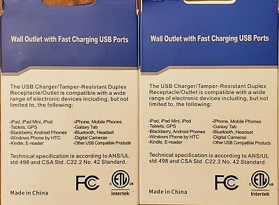 USB Outlet 4.2 Amps Fast Charge 15 Amps Receptacle (Pack of 2) *FREE SHIPPING!* 2
