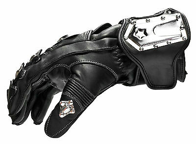BLACK ASH B07 MOTORCYCLE GLOVES COWHIDE LEATHER STEEL ARMOR SMALL