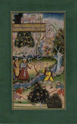 Indian miniature Garden scene, gouache and gilt 2