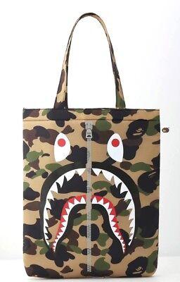 A Bathing Ape Bape Neon Camo Leather Shopping Tote Messenger Shoulder Bag AW2018