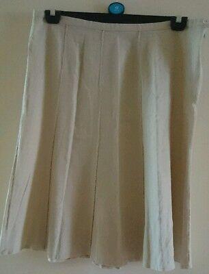 Linen skirt 14, 36' waist, 28' length, ivory cream,10 panel, button+zip. 2