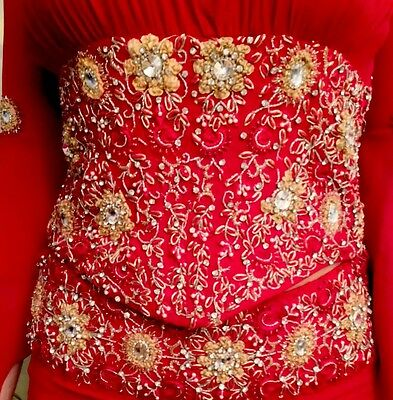 Red chiffon Indian saree dress, Lehenga Choli, handmade swarowski embellishment 5