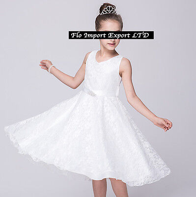 ... Vestito Bambina Abito Cerimonia Pizzo Elegante Girl Party Princess Dress  CDR057 7 e6f003b5c86