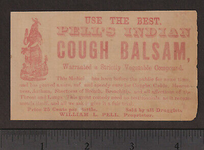Pell's Indian Cough Balsam Cure Asthma Remedy bottle card Victorian Advertising 3