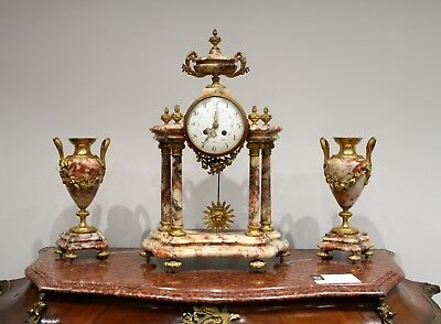 A Beautiful French Marble And Ormolu Mantle Clock Set 2