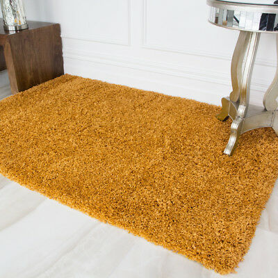 New Trendy Affordable Nordic Ochre Mustard Shaggy Thick Living Room Large Rug 2