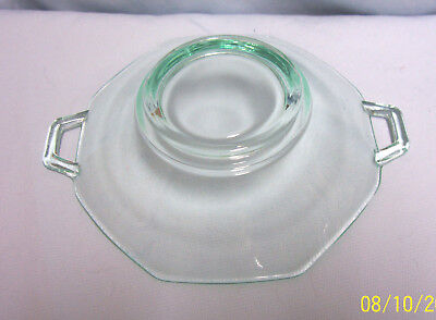 CANDY DISH Vintage Green Depression Glass Octagon Shape Serving Dish w/Handles 2