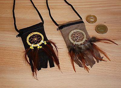 2 Brustbeutel Indianer Traumfänger Lederbeutel Umhängebeutel Indianerbeutel Beut