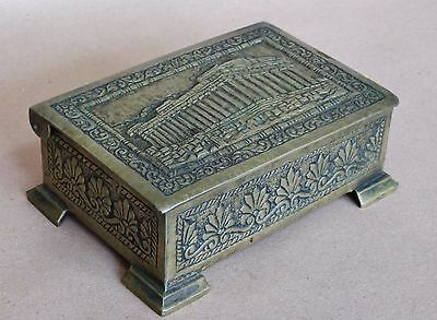1930s HAND MADE BRONZE ACROPOLIS PARTHENON ANTIQUE PREMIUM SOUVENIR CASE BOX