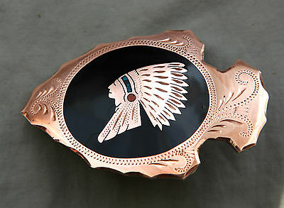 Vtg Johnson Held Turquoise Coral Indian Chief Inlay Handmade Western Belt Buckle 4