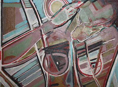 Vintage expressionist cubist large oil painting signed 8