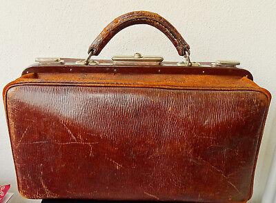 SFS Antike Leder Arzttasche Doktor Tasche Sacvoyage Hebammentasche um 1900 3