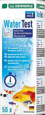 Dennerle 6in1 Aquarium Water Test Strips Set Kit pH KH GH NO2 NO3 Cl 50 Tests 3