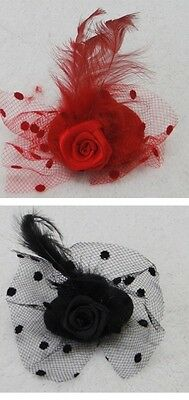 Flower Hair Clip Feathers Small Mini Top Hat Fascinator Royal Ascot RaceSize 5cm 2
