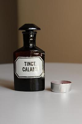 Apothekerflasche, Form selten, TINCT. CALAMI rund mit 4 Kanten,alt,emailliert