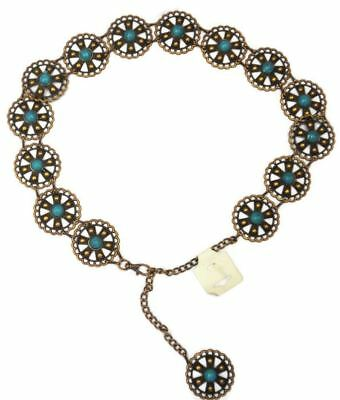 Woman's Girls Waist Dress Metal Belt Fashion Turquoise Stone Adjustable Chain 2