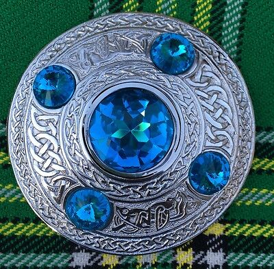 "Men's Fly Plaid Brooch Sky Blue Stone  4""/Ladies Shawl Brooch/Fly Plaid Brooches 2"