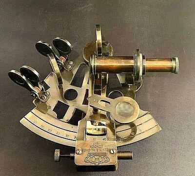 Vintage Maritime Brass Nautical Sextant Leather Case Kelvin Hughes London 1917 5