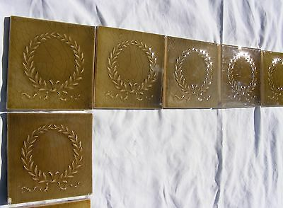 Antique USET Majolica Fireplace Raised Relief Tile Set Gold Green Laurel Wreath 6